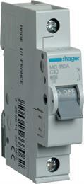 Автоматический выключатель Hager 1P 6kA C-10A 1M MC110A
