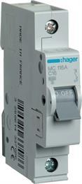 Автоматический выключатель Hager 1P 6kA C-16A 1M МС116А