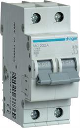 Автоматический выключатель Hager 2P 6kA C-32A 2M MC232A