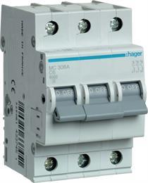 Автоматический выключатель Hager 3P 6kA C-6A 3M MC306A