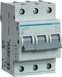 Автоматический выключатель Hager 3P 6kA C-25A 3M MC325A