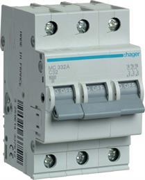 Автоматический выключатель Hager 3P 6kA C-32A 3M MC332A