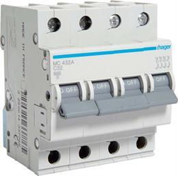 Автоматический выключатель Hager 4P 6kA C-32A 4M MC432A