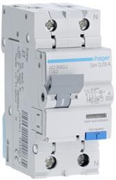 Дифавтомат АВДТ Hager 1P+N 6kA С-40A I?n=30мА, Тип А, винтовые клеммы, ширина 2М AD990J